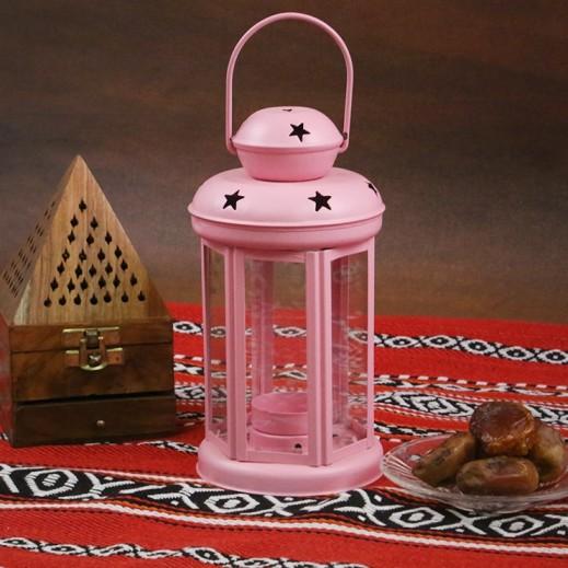فانوس رمضان معدني - وردي