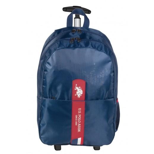 يو إس بولو - حقيبة ترولي مدرسية 9106 - أزرق - 48.2  سم