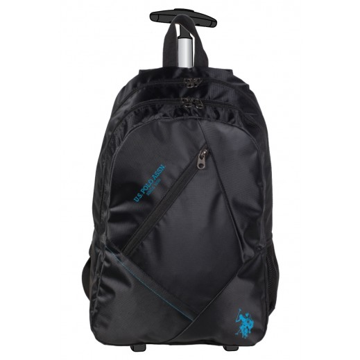 يو إس بولو - حقيبة ترولي مدرسية 9113 - أسود - 48.2 سم
