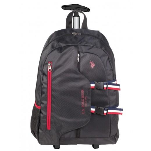 يو إس بولو - حقيبة ترولي مدرسية 9117 - أسود 48.2 سم
