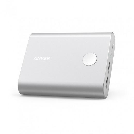 """أنكر – بطارية إحتياطية """"باور كور بلس"""" بقوة 13400 مل أمبير بتقنية QC3.0 مع 2 منافذ USB – فضي"""