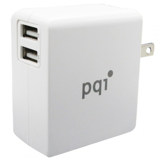 شاحن صغير PQI ICHARGER مع منافذ USB مزدوجة 18 واط - ابيض