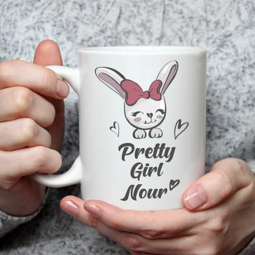 جملة على كوب (تصميم الأرنب) - MU036 - يتم التوصيل بواسطة Berwaz.com