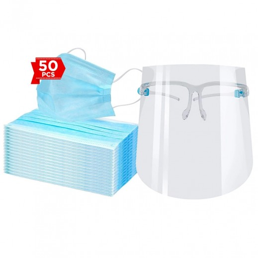 كمامة الحماية للإستخدام لمرة واحدة 3 طبقة 50 حبة + قناع حماية الوجبة مع إطار العين