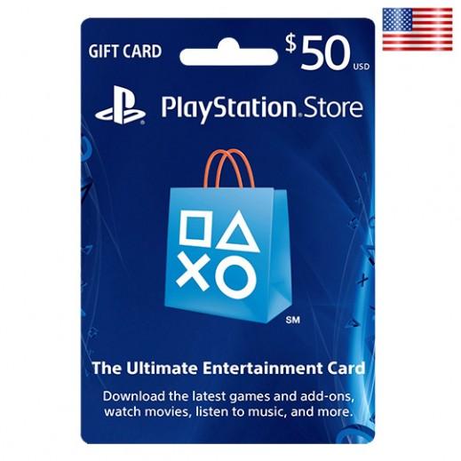 بطاقة فورية لشبكة سوني بلايستيشن بقيمة 50 دولار للحسابات الأمريكية