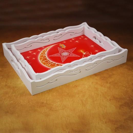 طقم صواني خشبي للتقديم بتصميم رمضان - أحمر  2 حبة