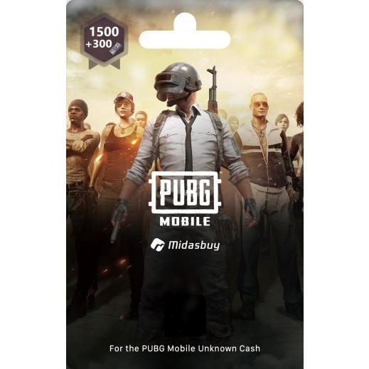 نقاط لعبة PUBG بقيمة 1500+300 UC (استلام عبر الإيميل)