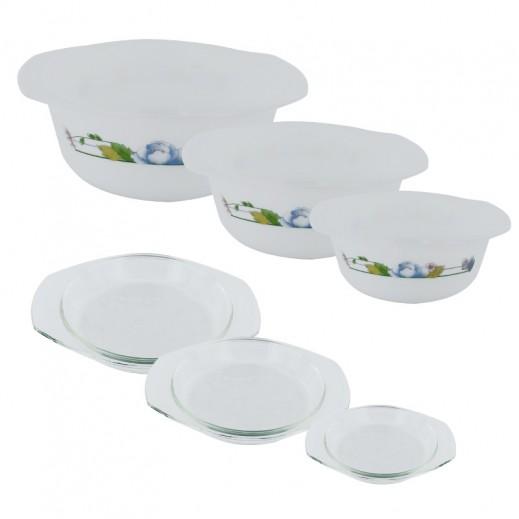 جيلونج – وعاء زجاجي لحفظ الطعام مع غطاء 3 قطع