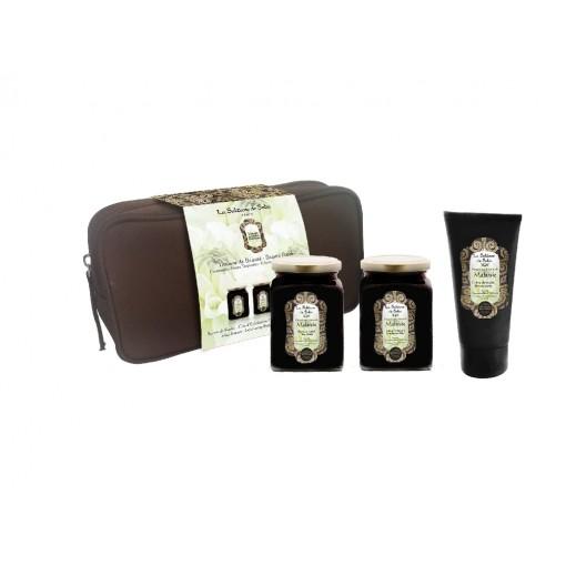 لا سلطانا دي سابا - طقم حقيبة الجمال للسيدات (شرائح شمعية لإزالة شعر الجسم 100 مل + زبدة الشيا 100 مل + مرطب اليدين 50 مل + حقيبة)