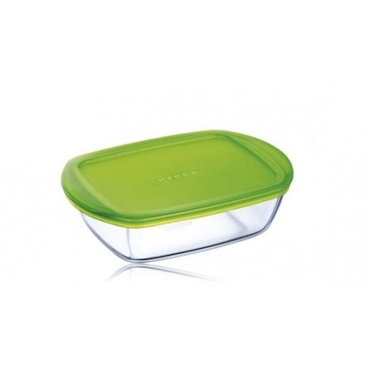 بايركس – طبق زجاجي مستطيل للطهي والتخزين بغطاء أخضر 0.35 لتر