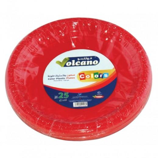 فولكينو– صحون بلاستيك بيضاوية ملونة – 9 بوصة - 25 حبة
