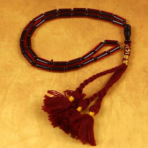 سبحة سندلوس تركي بخرز مستطيل الشكل - لون احمر/اسود