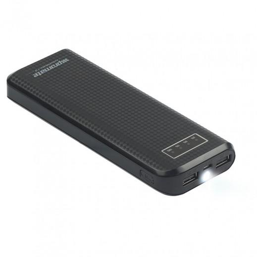 بروميت بطارية احتياطية سعة 13200 مللي امبير صغيرة الحجم متعددة التوافق مع منافذ USB مزدوجة - اسود