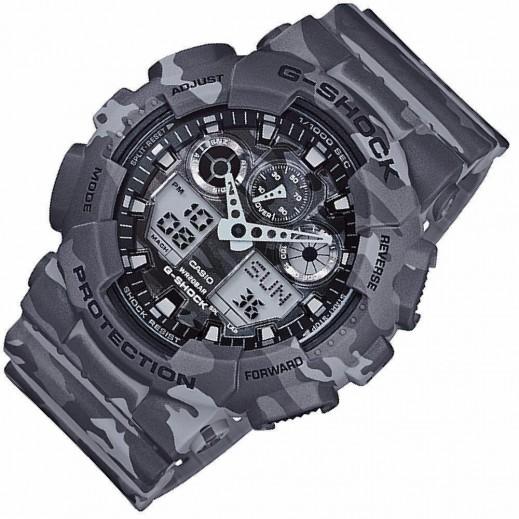 كاسيو - ساعة يد رقمي وتناظري G-SHOCK بحزام راتينج للرجال - رمادي  - يتم التوصيل بواسطة Veerup General Trading