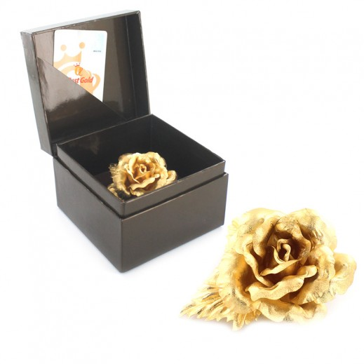 كيو بيست - بروش كبير مصنوعة من ورق الذهب 24 قراط  (6.5 سم)