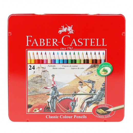 فابر كاستل - طقم أقلام تلوين خشبية في علبة مسطحة 24 قلم