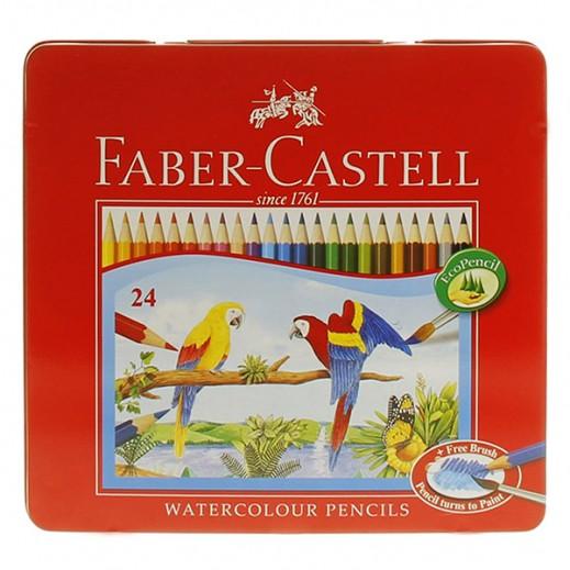 فابر كاستل - طقم أقلام تلوين مائية في علبة معدن (مع فرشاة مجانية) 24 قلم