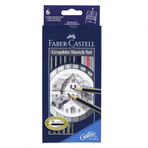 فابر كاستل – طقم أقلام رصاص 6 درجات + براية + ممحاة
