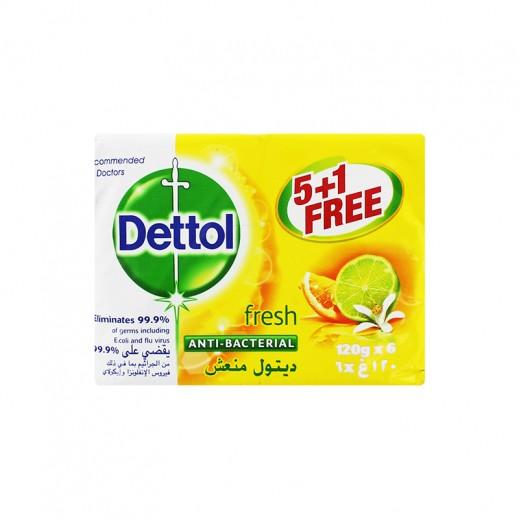 """ديتول – صابون """"منعش""""المضاد للجراثيم 120 جم (5 حبة +1 مجاناً)"""
