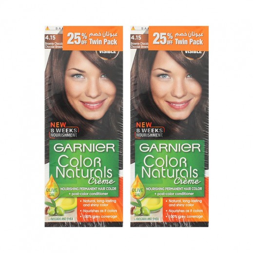 Garnier Color Naturals Twin Pack Hair Color Brownie Chocolate 4.15