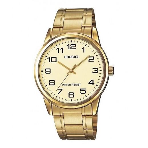 كاسيو - ساعة يد استانلس ستاندرد بعقارب للرجال ذهبية  - يتم التوصيل بواسطة Veerup General Trading