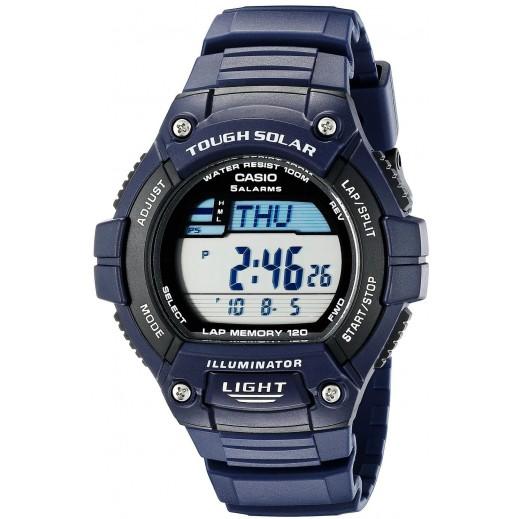 كاسيو – ساعة رقمية راتنج تعمل بالطاقة الشميسة للرجال - لون أزرق  - يتم التوصيل بواسطة Veerup General Trading