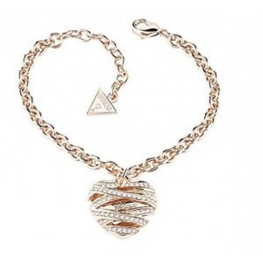 Guess Heart Shape Rose Gold Small Bracelate - يتم التوصيل بواسطة Beidoun