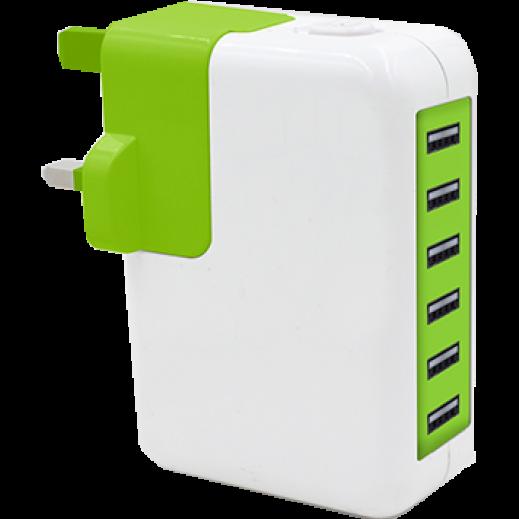 شاحن USB مع 6 منافذ GOUI GO ابيض