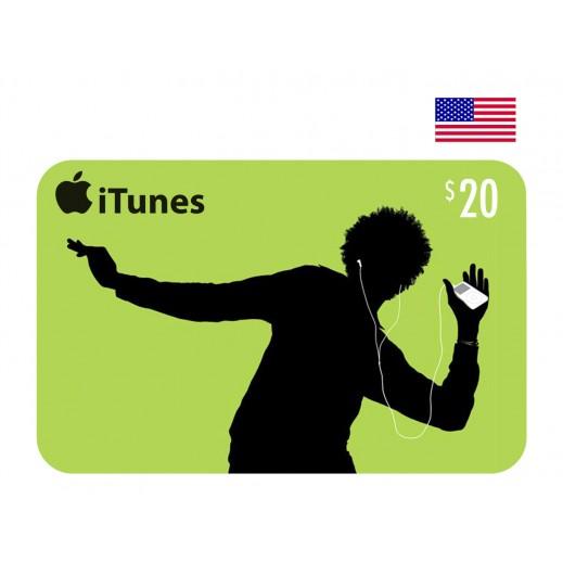 بطاقة أي تونز بقيمة 20 دولار للحسابات الأمريكية فقط –  إستلم فورا على بريدك الإلكتروني