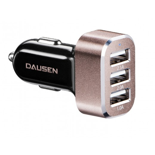 Dausen 3-Port USB Car Charger Black
