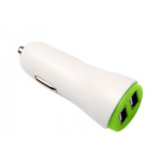 جوي - شاحن سيارة 2 منفذ USB وكيبل Lightning - ابيض