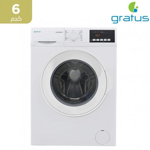 جراتوس – غسالة ملابس تحميل أمامي 6 كجم – فضي - يتم التوصيل بواسطة Smart Stores