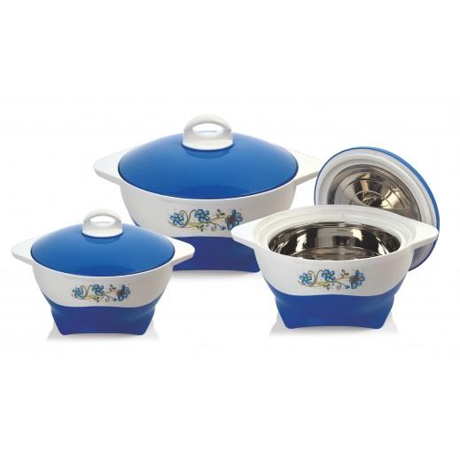 سيلفي – طقم  كسارول لحفظ درجة حرارة الطعام - أزرق 3 حبة