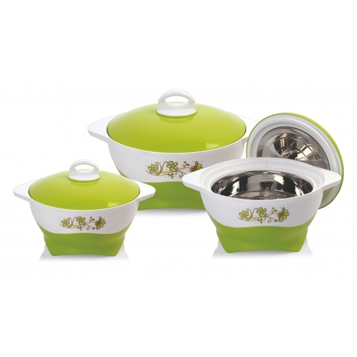 سيلفي – طقم  كسارول لحفظ درجة حرارة الطعام - أخضر 3 حبة