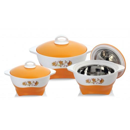 سيلفي – طقم  كسارول لحفظ درجة حرارة الطعام - برتقالي 3 حبة
