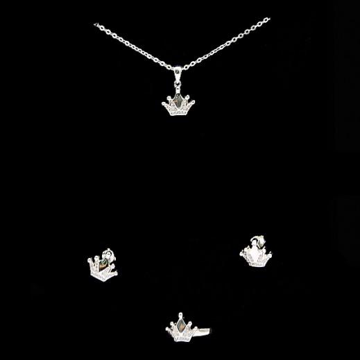 دبليو.إم - طقم مجوهرات مطلي التاج بالفضة السويسرية الخالصة - مقاس 7 (موديل N6-27)