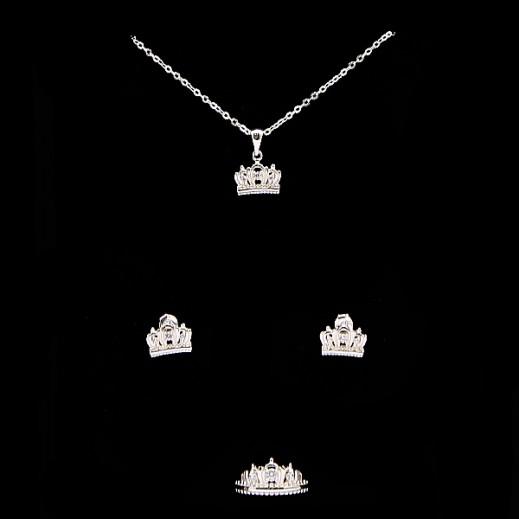 دبليو.إم - طقم مجوهرات مطلي بالفضة السويسرية الخالصة ومرصعة بالزركون والأحجار البيضاء - مقاس 7 (موديل N6-21)