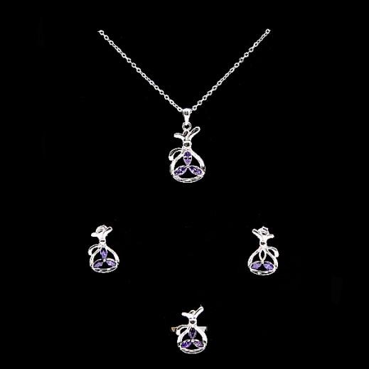 دبليو.إم - طقم مجوهرات مطلي بالفضة السويسرية الخالصة ومرصعة بالزركون والأحجار البنفسجية - مقاس 7 (موديل A19367)