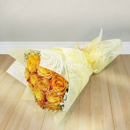 باقة زهور روز أصفر - يتم التوصيل بواسطة Flowerrique