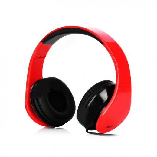 iLead - سماعات الرأس قابلة  للطى و التعديل – لون أحمر × أسود