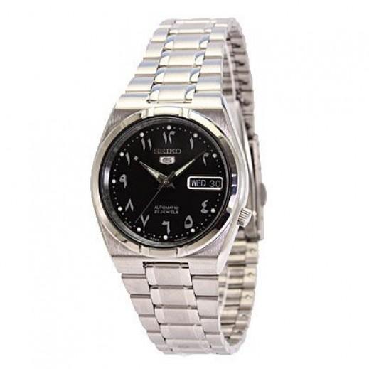 سيكو- ساعة يد للرجال ستانلس ستيل بأرقام عربية - يتم التوصيل بواسطة Marshall Al-Alamiah Company