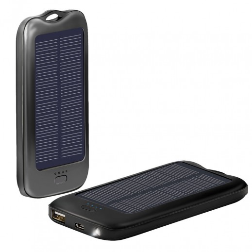 بروميت SOLARMATE-5 بطارية احتياطية سعة 5000 مللي امبير تشحن بالطاقة الشمسية للهواتف الذكية لون اسود