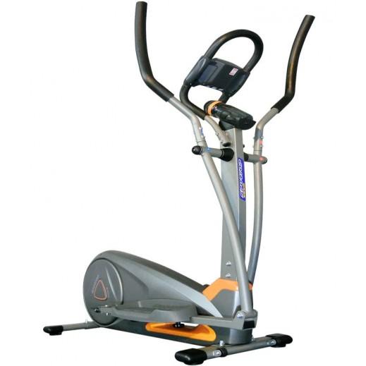سبورتوب - دراجة تمارين اللياقة البدنية البيضاوية مع شاشة LCD – فضي وبرتقالي - يتم التوصيل بواسطة Al-Nasser Sports