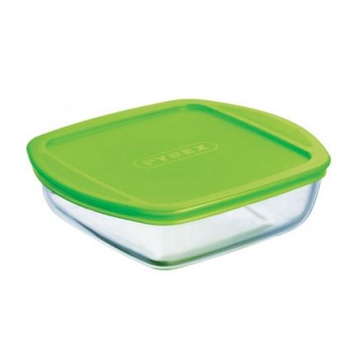 بايركس – طبق زجاجي مربع للطهي والتخزين بغطاء أخضر 0.35 لتر