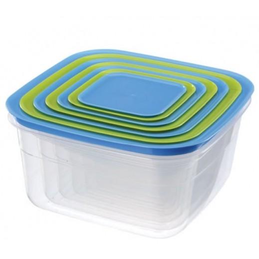 بلاتنيوم - طقم أوعية بلاستيك مربعة (ألوان متعددة) - 6 حبة