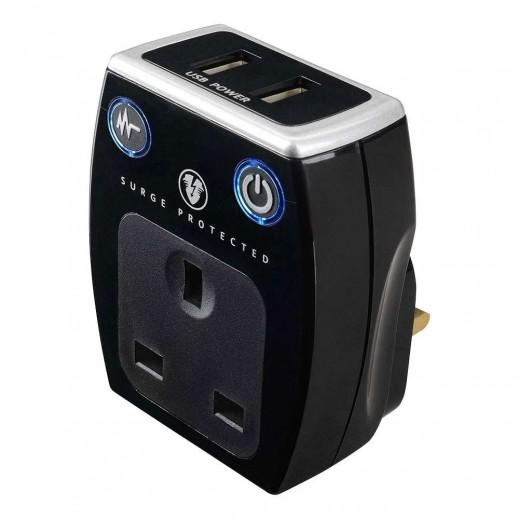ماستربلج - مقبس حائط كهربائي مع 2 مخرج USB للشحن - أسود