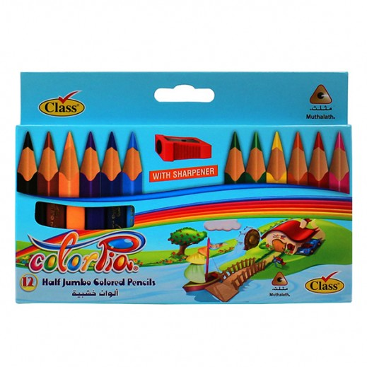 كلاس - طقم أقلام تلوين خشبية قصير جامبو مع براية 12 قلم