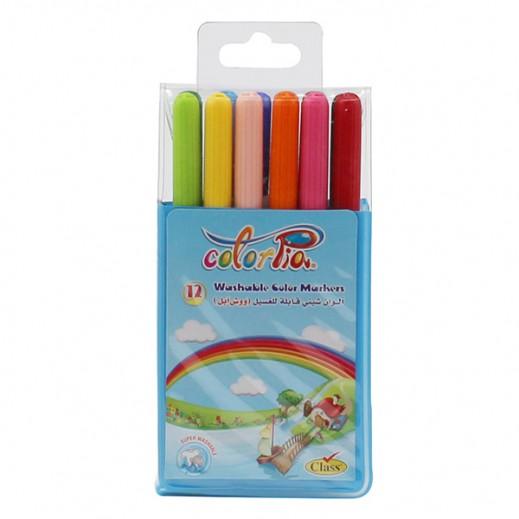 كلاس – طقم أقلام تلوين شيني قابلة للغسل في علبة 12 حبة