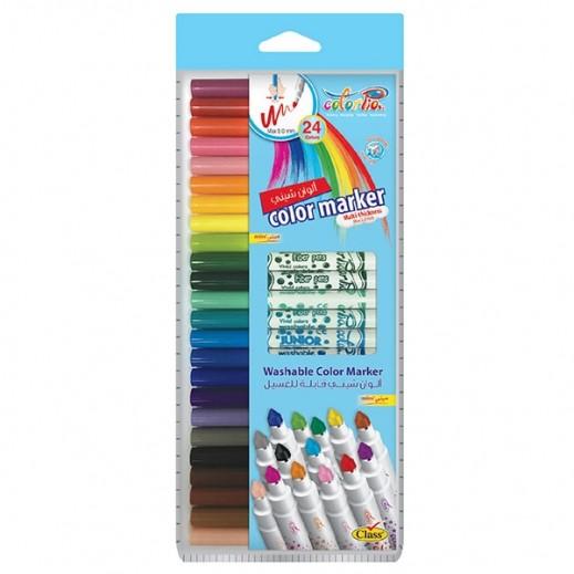 كلاس – طقم أقلام تلوين ميني شيني قابلة للغسل في علبة - 24 قلم