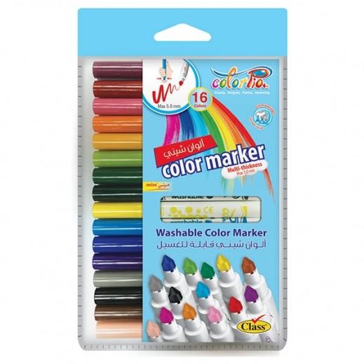 كلاس – كلربيا طقم أقلام تلوين رينبو لامعة - 16 قلم قابلة للغسيل